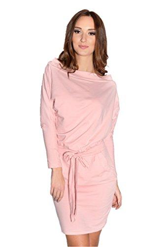 AE Damen Langarm Bodycon Party Abendkleid Minikleid Schulterfrei Kleid Dress, 8241 Puderrosa 2XL/3XL