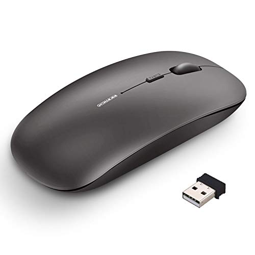 Wireless Mouse Rechargeable,Silent Click Nosiness Ultra Slim 2.4G Cordless Mice,4 Buttons USB Optical Portable Mouse With Nano Receiver For Windows Mac Linux Vista Macbook Laptop PC And Computer-Gray