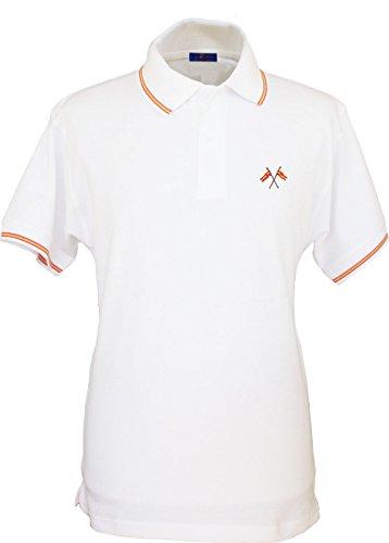 Pi2010 - Polo Hombre Blanco con Bordado Bandera de España en Pecho, Blanco, 100% algodón