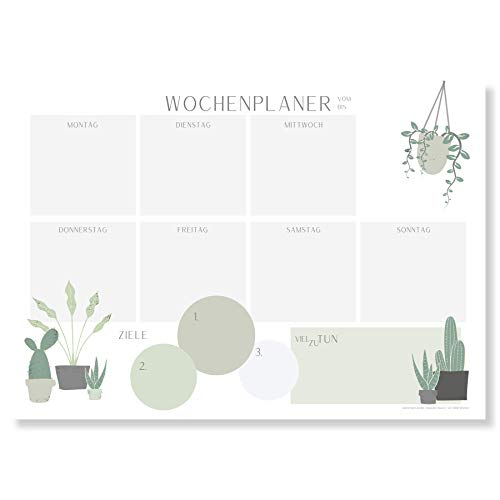 Wochenplaner Block A4 (50 Blatt) - Ohne festes Datum - Schreibtischunterlage mit ToDo Liste - Wochen Planer Wochenkalender aus Papier - Weekly Planner Undatiert - Terminplaner - Wochenplan - Plantlady