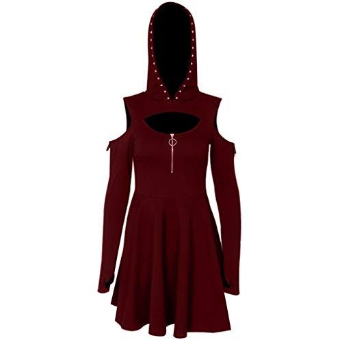 LOPILY Punk Kleid Damen mit Kapuze Schulterfreies Kleid mit Zippe Cool Boyfriend Unique Kleid Sexy Kleid Plisse Minikleid Party Kleid Übergrößen bis 5XL (Rot, DE-34/CN-M)