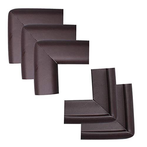 YeVhear - Lote de 5 unidades de espuma para muebles, mesa de oficina, borde de cobertura, almohadillas protectoras para esquinas y parachoques, 50 x 22 x 20 x 6 mm, color marrón