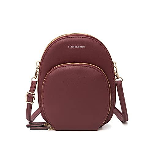 Mini sac à dos pour femme - Petit sac à dos décontracté en cuir convertible - Petit sac à bandoulière pour téléphone portable, bordeaux, Small