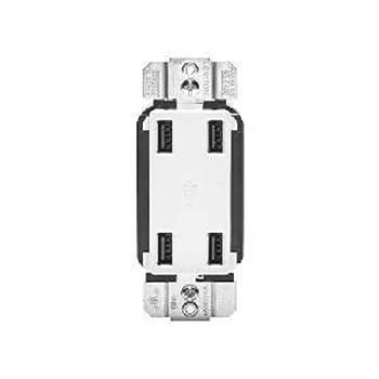 Leviton 4.2-Amp 4-Port USB Charger USB4P White