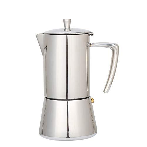 Cafetera Italiana Express De Inducción De Acero Inoxidable - Cafeteras Express para Espresso,Perfecta para Uso Doméstico y en la Oficina. (Plata/6 Tazas)