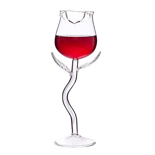 AOOF Copa de vino tinto, copa en forma de flor de rosa, regalo único para damas, hombres, bodas, aniversarios, Navidad, cumpleaños, 180 ml
