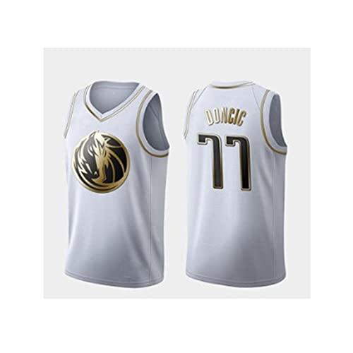 GFQTTY Camiseta De Baloncesto, Lone Ranger # 77 NBA Jersey Black Gold Edition Jersey Bordado Resistente Al Desgaste Cómodo Y Transpirable Camiseta para Hombre Y Mujer