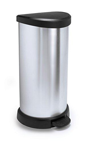 CURVER 184106 Poubelle à pédale 50L Aspect métal, Polypropylène