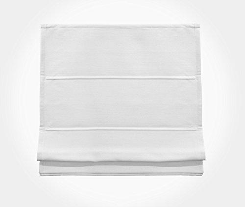 Rollmayer Raffrollo ohne Bohren Gardine SCHNURZUG Raffgardine Vorhang Rollo Faltrollo (Weiß 7710/0100, 120x225(BxH), Decke/Wand)