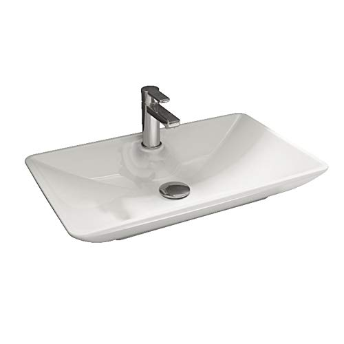 Aqua Bagno Design Keramik Aufsatzwaschbecken Eckig Waschschale Waschtisch KB.Leon.002 | 65 x 40 cm