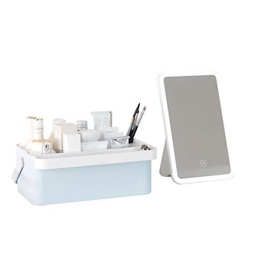 Multifunctionele cosmetische opbergdoos, draagbare huidverzorgingsbox, professionele cosmeticaspiegel en led-lamp, interne accessoires kunnen worden gescheiden