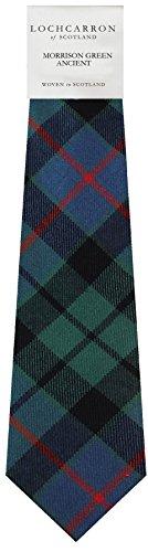 I Luv Ltd Gents Neck Tie Morrison Green Ancient Tartan Lightweight Scottish Clan Tie