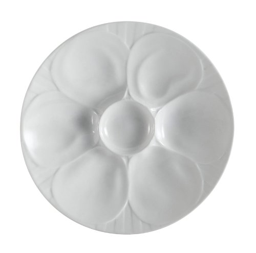 CAC China OYS-9 Porcelain Oyster Plate with 6-Compartment, 9-Inch, Super White, Box of 24
