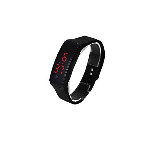 Rrunzfon El Reloj Unisex del Cuarzo de la Manera Digital Deportes Reloj de Pulsera con Silicona Brazalete - Accesorios de la joyería del Reloj Negro
