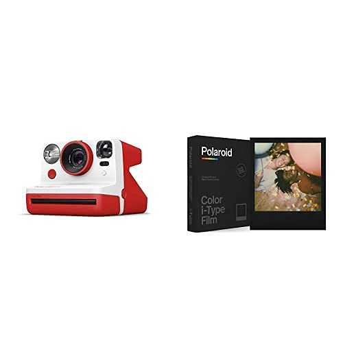 Polaroid - 9032 - Polaroid Now Fotocamera Istantanea i-Type, Rosso + 6019 - Pellicola Istantanea Colore per i-Type – Black Frame Edition