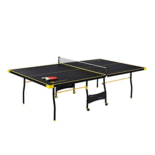 MD Sports Table Tennis Set, Regulation Ping Pong Table with Net, Paddles and Balls (8 Pieces) - Black & Yellow