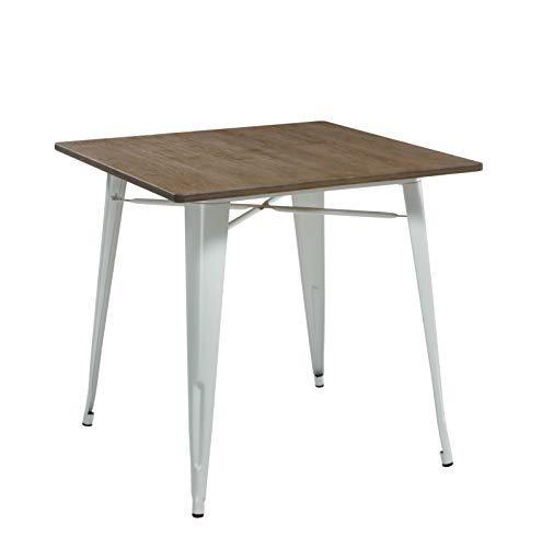 THC Living Industrial Look Metall Küchentisch - Bambus Holz Top - 80 x 80 cm Bistrotisch - Esszimmertisch quadratisch (Weiß)