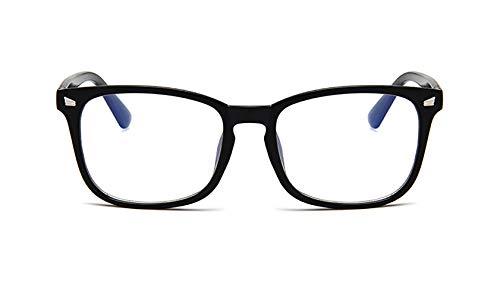 DAWN&ROSE PC-Rahmen Gläser, klassisch blau Film Kurzsichtigkeit Wilde Brillenfassungen, Büroangestellte, Handy Übernutzung, Spiele, Unisex, ebener Spiegel,Bright Black