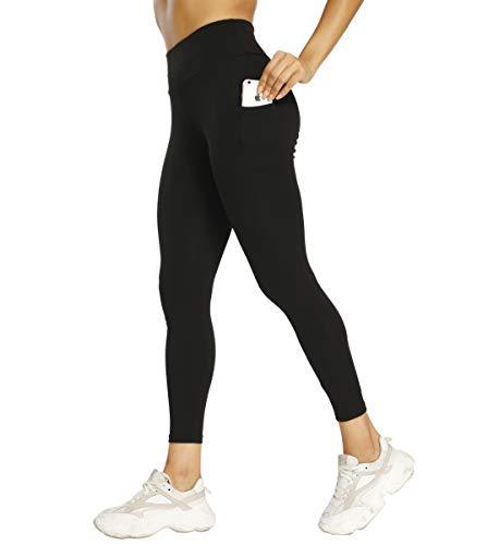 SLIMBELLE Hohe Taille Sport Leggings mit Tasche Damen Sexy Push Up Leggings Shorts Geraffte Yoga Hose Fitnesshose Kurz Stretch Training Leggins Laufhose für Gym Yoga Workout