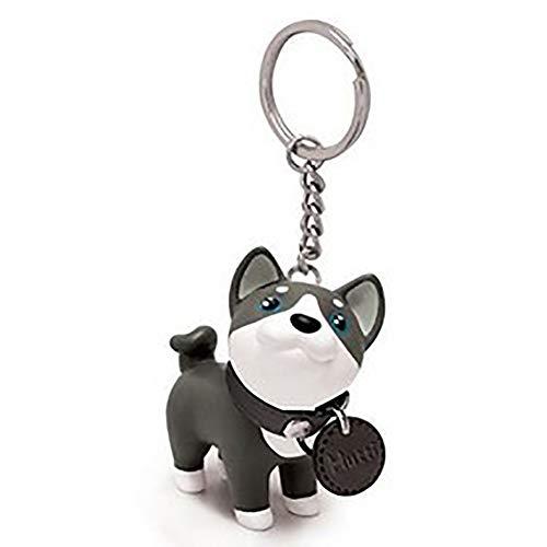 N-K Niedlichen Cartoon Husky Hund Schlüsselanhänger Vinyl Tasche Anhänger Dekor hängende Verzierung Schlüsselring Mädchen Geschenk grau stilvoll und beliebteconomical
