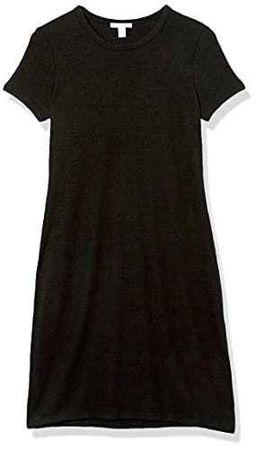 Amazon Brand - Daily Ritual Women's Cozy Knit Open Crew Neck Dress, Black, Medium