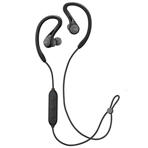 JVC HA-EC25WB Sports Wireless Earbuds - in Ear Bluetooth Headphones with Pivot & Slide Motion Fit - Sweat Proof IPX2, 6.5 Hour Rechargeable Battery, Mic and Remote (Black)