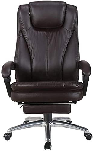JYHZ Stühle, Home Office Stühle, Polsterhoch Rücken Liegende Leder Liegestühle, Ergonomische Schwenker Reclining Stühle mit Fußschemel, Gaming Chairs (Color : Brown, Size : Without Footrest)
