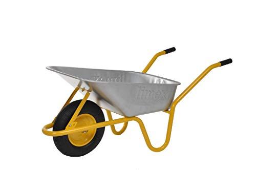 LIMEX Schubkarre Bauschubkarre Gartenkarre | 85 Liter | Gelb | Mulde verzinkt