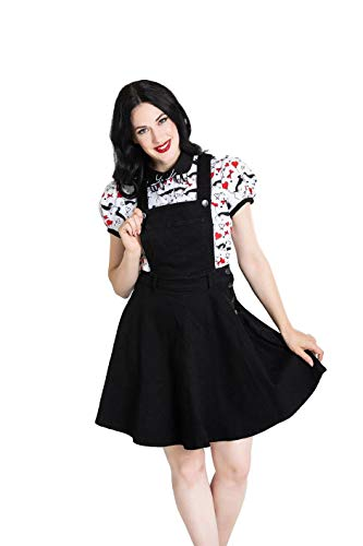 Vestido de Hell Bunny Dakota Pinafore Denim en Estilo Rockabilly Pinup XS-4XL