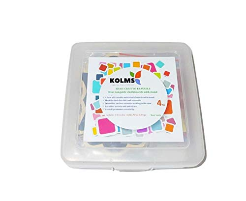 KOLMS Hang-Able Wood Mini Chalkboard Signs with Rope(String),Support Easels,Place Cards,Blackboard for Weddings,Birthday Parties,Message Board Signs&Event Decorations (RED CHALK-HOLDER, FLOWER-SHAPED)