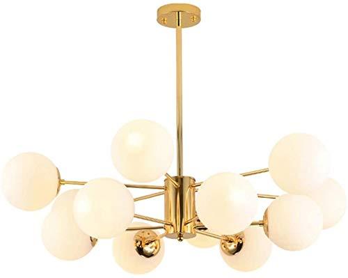 E27 Araña de Sputnik, latón satinado antiguo con luz de vidrio de vidrio Luz de techo, para sala de estar Lámpara colgante de comedor, vidrio de mediados de siglo. Luz colgante D 8 luces