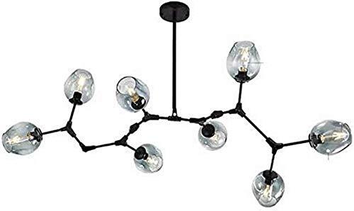 NBVCX Decoración del hogar Lámparas Colgantes Araña Molecular E27 Pantalla de Vidrio soplado a Mano Lámpara Colgante Pantalla Restaurante Luz Colgante de Gota Dormitorio-D Luz Negra-8