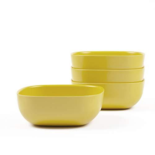 EKOBO Gusto Müslischalen Set Gelb (Lemon), 4-teilig, Bambus-Faser/Melamin, nachhaltig, spülmaschinenfest & schadstofffrei, Cereal Bowl Set Lemon, Geschirr aus Bambus, Müsli Schüssel/Schalen Set
