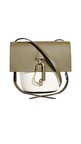 Leather: Calfskin Two-tone design and gold-tone hardware Length: 10.25in / 26cm Height: 8.75in / 22cm Top flap with twist-lock closure