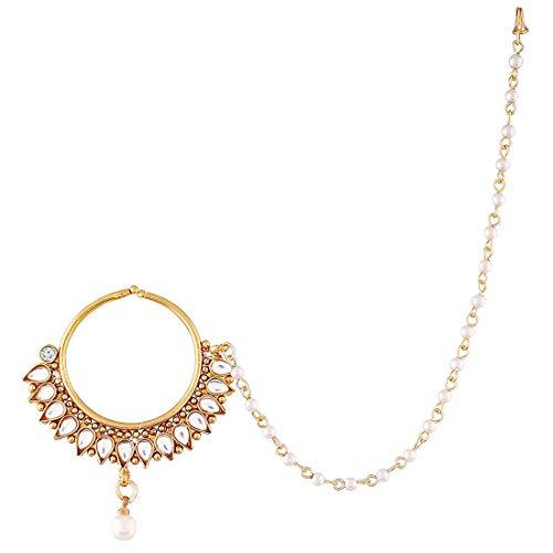 Aheli Indian Bollywood AD Nasenring | Nath Pearl Layered Chain Damen Padmavati Schmuck