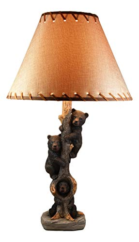 Ebros Three Forest Musketeers Whimsical Black Bear Cubs Climbing Tree Table Lamp Statue with Burlap Shade 24'High Wildlife Rustic Cabin Lodge Decor Forest Bears Family Desktop Lamps