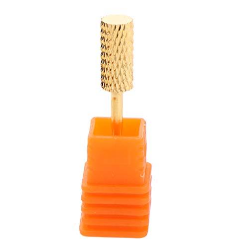Bonarty Broca de Uñas Resistente Herramientas de Pulido para Pulido de Uñas Manicura Suave - Golden + Orange m