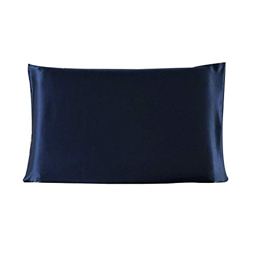 YeVhear - Funda de almohada de seda pura para el pelo y la piel, 350 TC, 19 Momme (1 unidad), Royal Blue King (20 x 36 pulgadas)