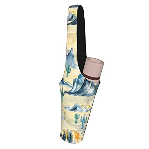 Kteubro Sunset Desert Mountains - Esterilla de yoga con bolsillo pequeño y grande