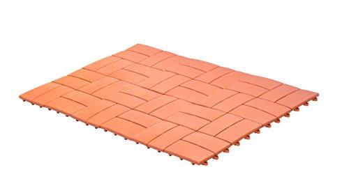 UPP Outdoor Gartenplatten Klickfliesen 30 x 30 cm | Wetterfester Bodenbelag für Balkon, Garten & Terrasse | Einfach & Schnell verlegt [6 Teile, Terrakotta]