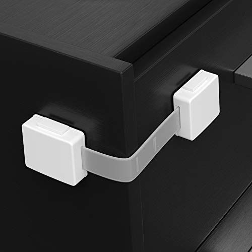 SKYLA HOMES Child Safety Locks (8-pack) Cabinet Baby Proofing - Safes Quick and Easy 3M Adhesive Cabinet Drawer Door Latches No Screws & Magnets Multi-Purpose for Furniture Kitchen Ovens Toilet Seats
