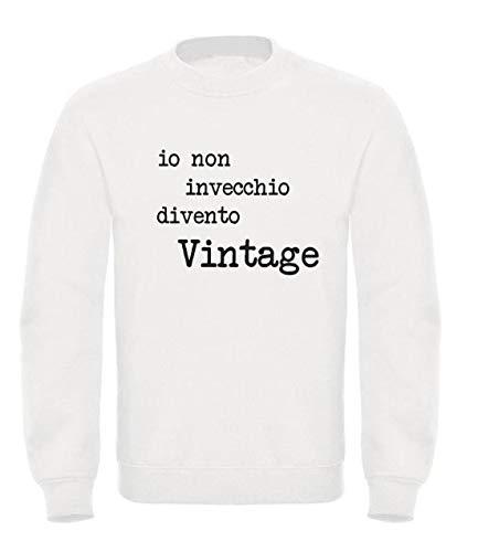Vestin Felpa Uomo Girocollo - IO Non INVECCHIO DIVENTO Vintage - Made in Italy (S, Bianco)