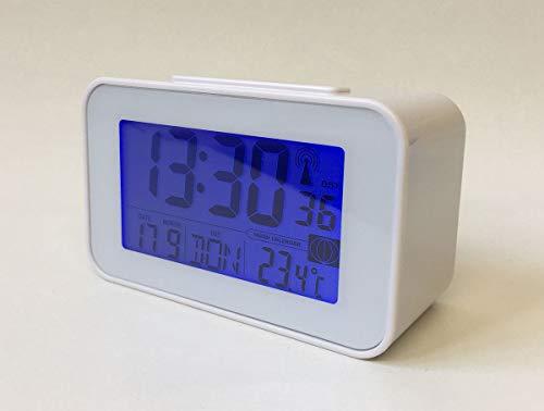 Soytich Funkuhr mit Thermometer Funkwecker Wecker in Silber (SN4491Weiß)
