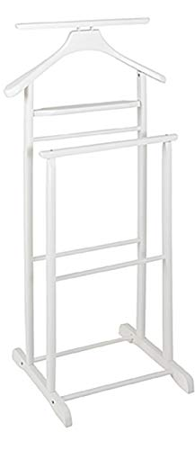 HAKU Möbel Herrendiener - Massivholz weiß mit Hosenbügel Höhe 102 cm