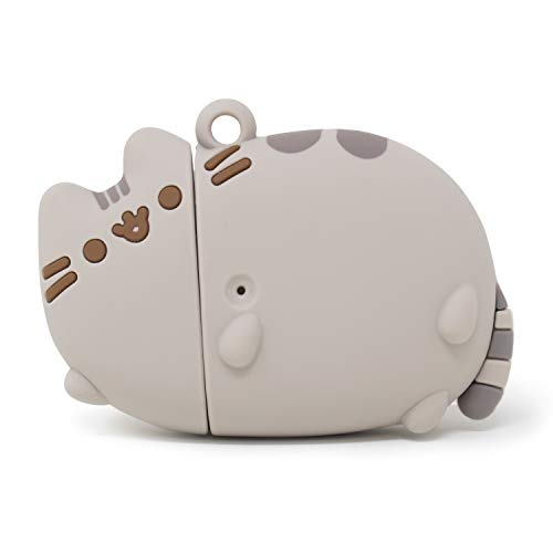 iFace x Pusheen Cute Silicone Protective Cover Designed for AirPods 1/2 Case [Carabiner Clip Included] [Wireless Charging Compatible] - Laying Down