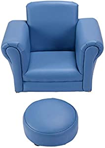 HONEY JOY Kids Sofa Armrest Chair Couch Childrens Living Room Toddler w/Footstool (Blue)