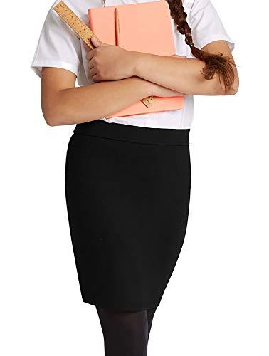 Oh! Pretty Girls School Skirt Kids Pencil Knee Length Uniform Skirt High Elasticated Waist Multiple Colours Ages 5-13 (Black, 13 Years)