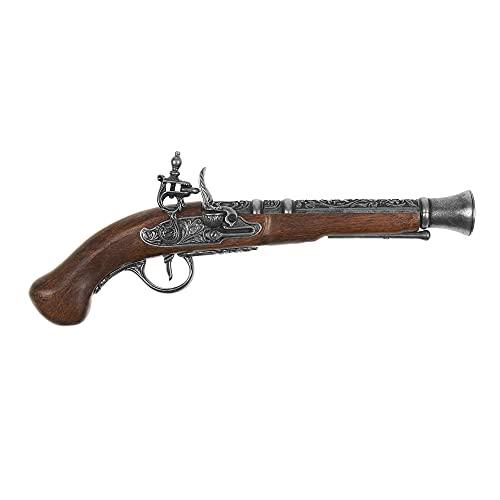 KOLSER Quality Replica Pistola DE Chispa Pirata Siglo XVIII Color PAVÓN Culata EN IMITACIÓN Madera. 36 CM. Peso 830 GR.