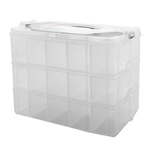 YepYes Slot Organizador de la Caja de plástico de Almacenamiento de contenedores Box 3 Capas portátil de Almacenamiento apilable Caja Blanca