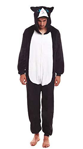 H HANSEL HOME Pijama Animal Gato Mujer Hombre Adulto Unisexo Disfraces Animal Carnaval Halloween...